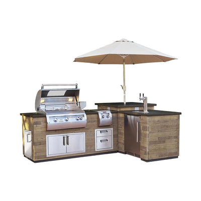 "Fire Magic ""L""Outdoor Kitchen Island French Barrel Oak - ISLAND ONLY"