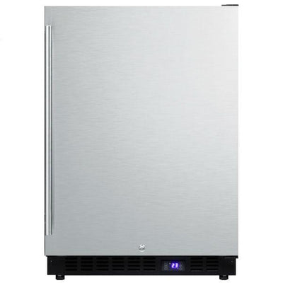 "Summit SPFF51OS 24"" Stainless Steel Frost Free Outdoor Freezer with Black Cabinet"