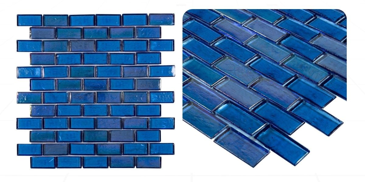 blue recycled glass iridescent glossy sateggered brick mosaic tile