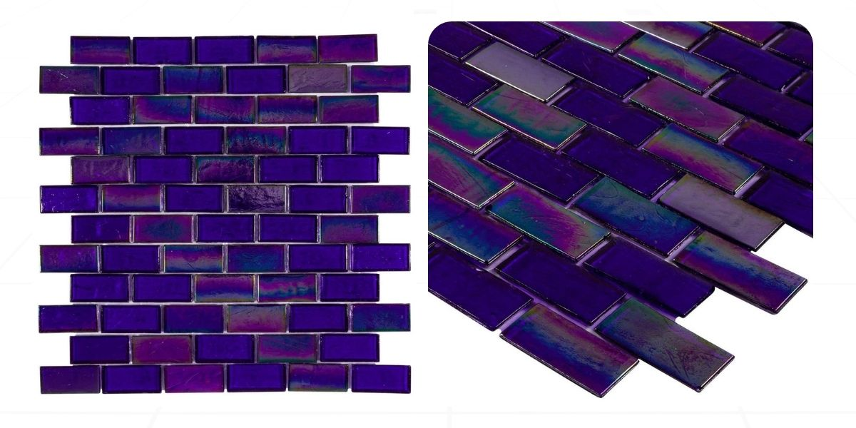 blue recycled glass iridescent glossy staggered brick mosaic tile