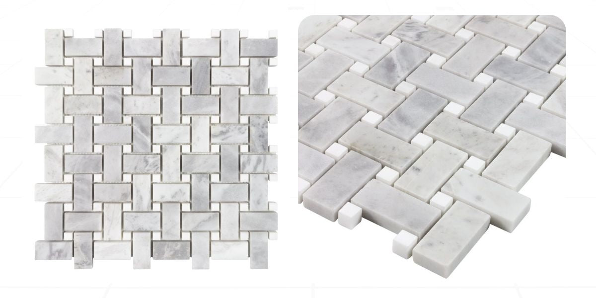 Honed stone mosaic for classic pencil shade-like appeal