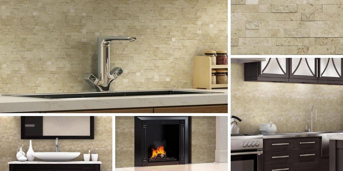 classic linear brown stone mosaic tile