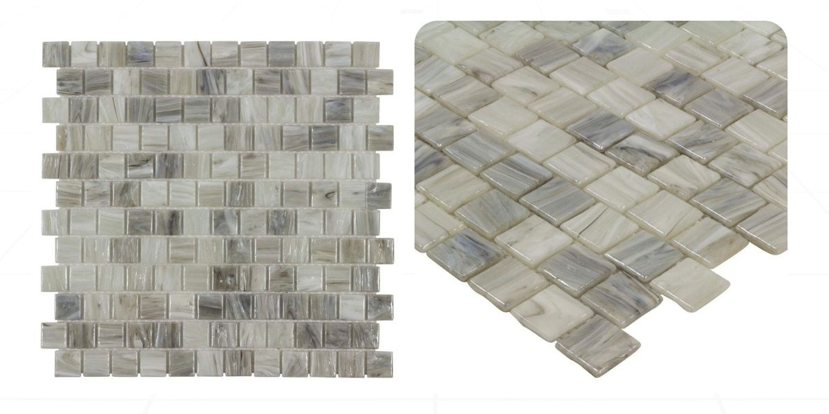 modern 1x1 square gray beige glossy glass mosaic tile