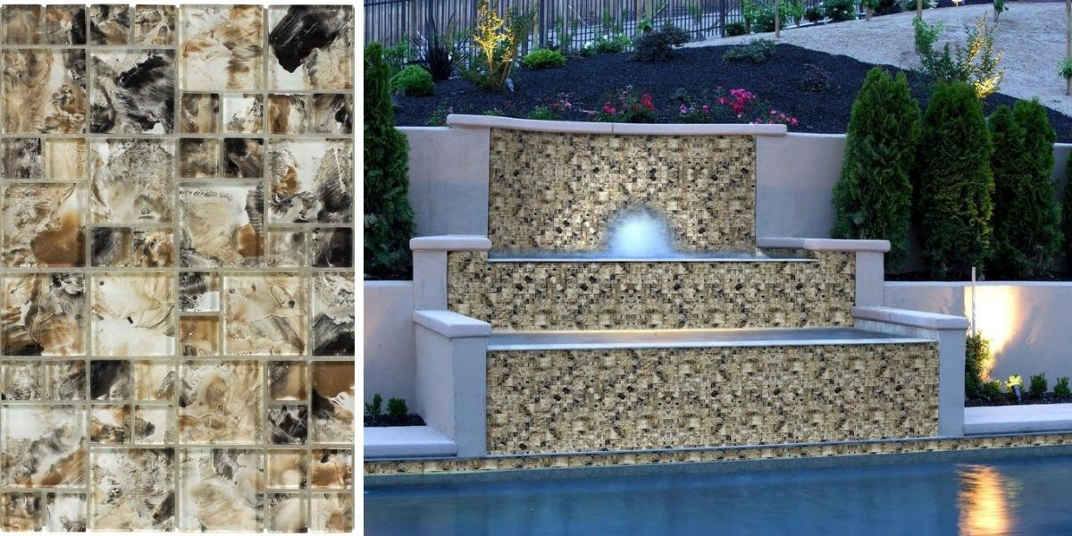 modern french pattern brown glossy glass mosaic tile