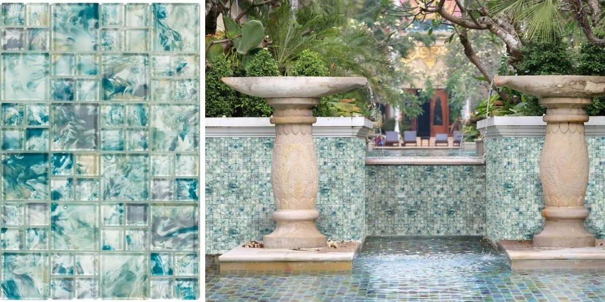 modern french pattern turquoise glossy glass  mosaic tile