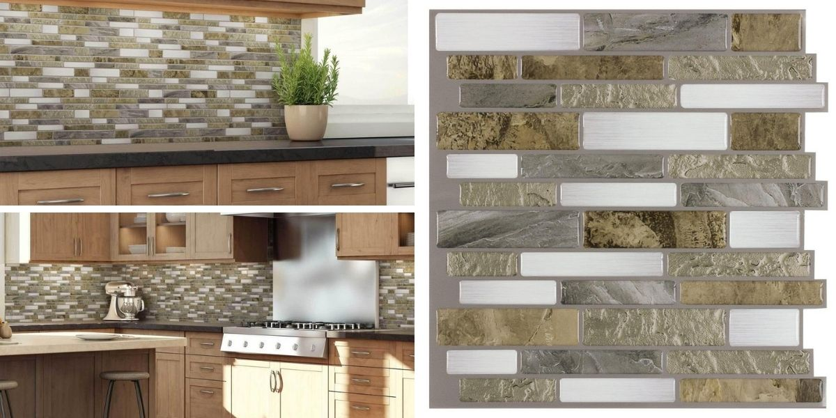 peel and stick linear beige gold white grey glossy vinyl mosaic tile