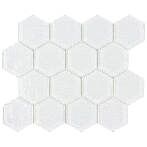 MTOW0044 Modern White Hexagon Frosted Glass Mosaic Tile - Mosaic Tile Outlet