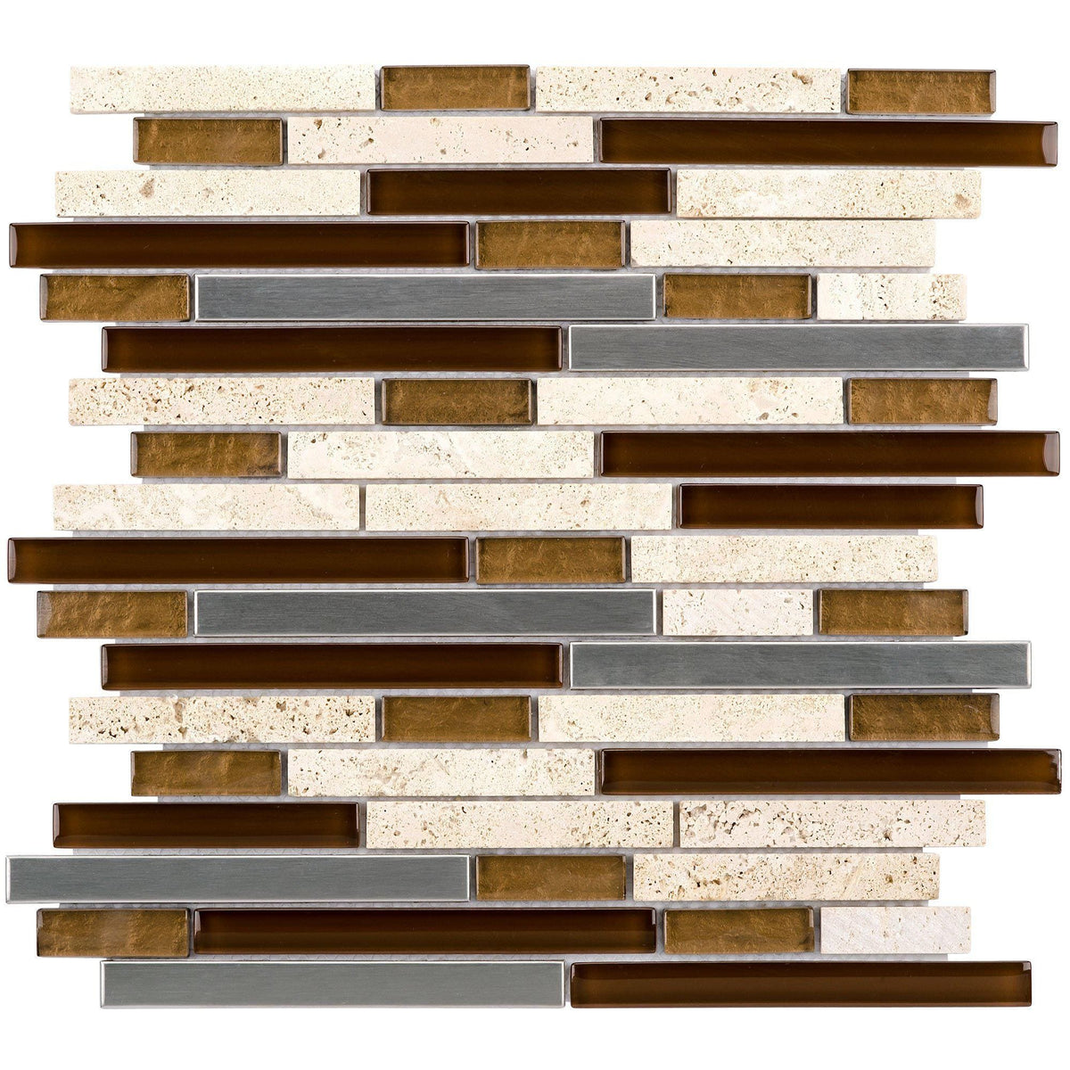 Sample Marble Green Brown Glass Linear Mosaic Tile: MTO0012 Linear Earth Tones Brown Gray Glass Travertine