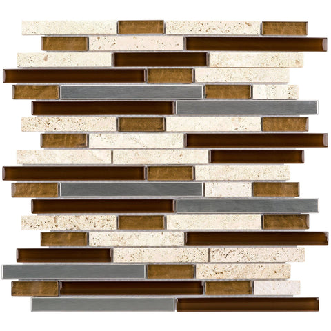 MTO0012 Linear Earth tones Beige Brown Gray Glossy Glass Travertine Mosaic Tile - Mosaic Tile Outlet