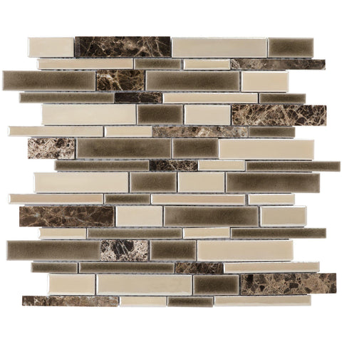 MTO0010 Linear Earth tone Beige Brown Glazed Emperador Marble Ceramic Mosaic Tile - Mosaic Tile Outlet