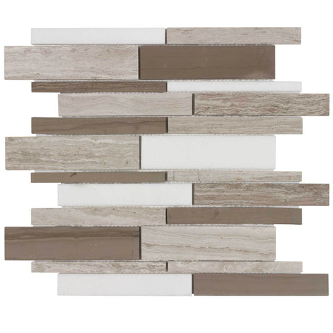 MTO0029 Classic Linear Brown Athens Gray Polished Marble Thassos Mosaic Tile - Mosaic Tile Outlet