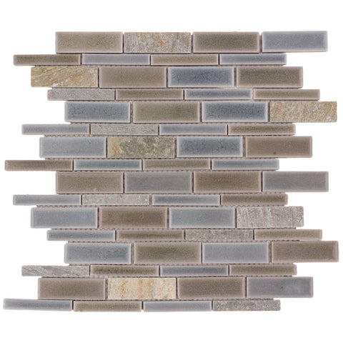 Front Classic Linear Grey Brown Tan Glossy Polished Crackle Porcelain Stone Tile