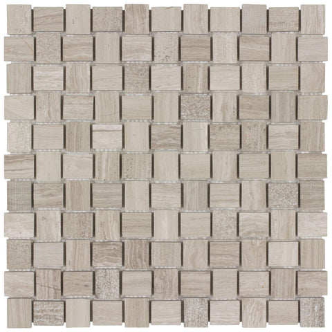 MTO0030 Modern Basket weave Beige Gray Natural Marble Mosaic Tile - Mosaic Tile Outlet