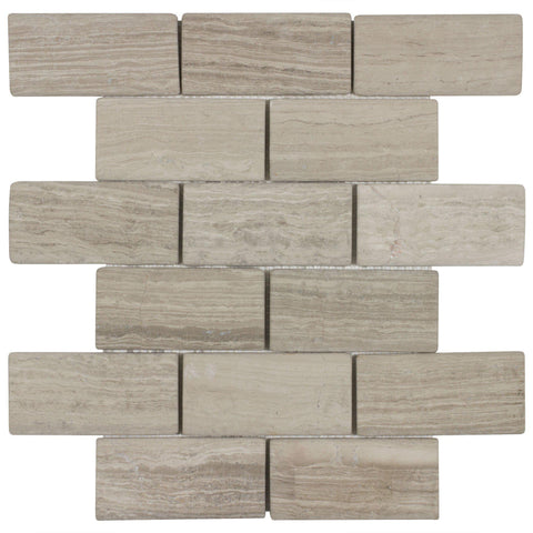 MTO0008 Modern 2X3 Brick Beige Honed Stone Mosaic Tile - Mosaic Tile Outlet