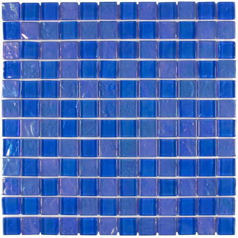 MTO0077 Classic 1X1 Squares Blue Iridescent Glossy Glass Mosaic Tile - Mosaic Tile Outlet