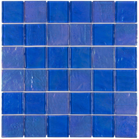 MTO0078 Classic 2X2 Large Squares Blue Iridescent Glossy Glass Mosaic Tile - Mosaic Tile Outlet