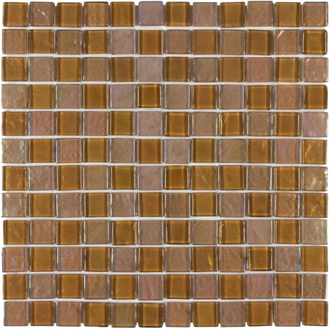 MTO0079 Classic 1X1 Squares Brown Iridescent Glossy Glass Mosaic Tile - Mosaic Tile Outlet