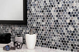 MTO0020 Modern Penny Round Navy Blue Black White Glossy Glass Mosaic Tile - Mosaic Tile Outlet