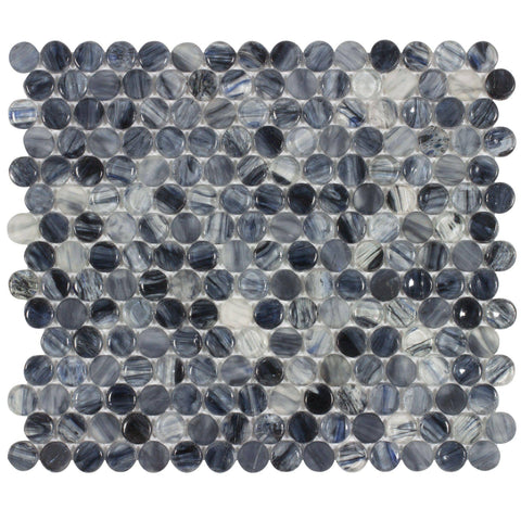 Front Contemporary Uniform Circles Black Blue Glossy Glass Tile