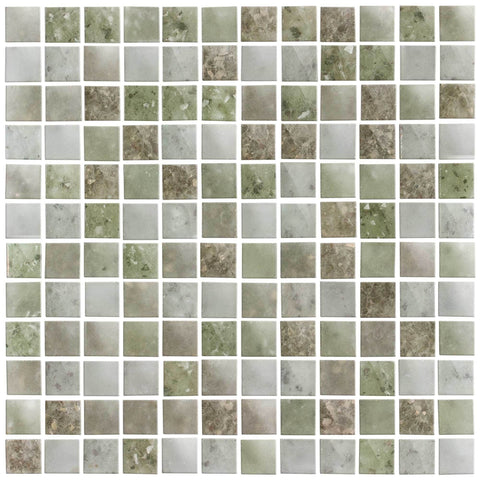 MTO0066 Modern 1X1 Squares Green Gray Frosted Glass Mosaic Tile - Mosaic Tile Outlet