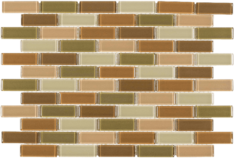 MTO0069 Classic Brick Brown Orange Olive Glossy Glass Mosaic Tile