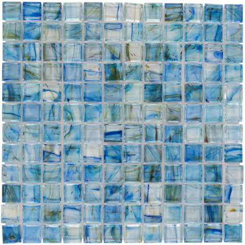 MTO0083 Classic 1X1 Stacked Squares Blue Green Gray Glossy Glass Mosaic Tile - Mosaic Tile Outlet