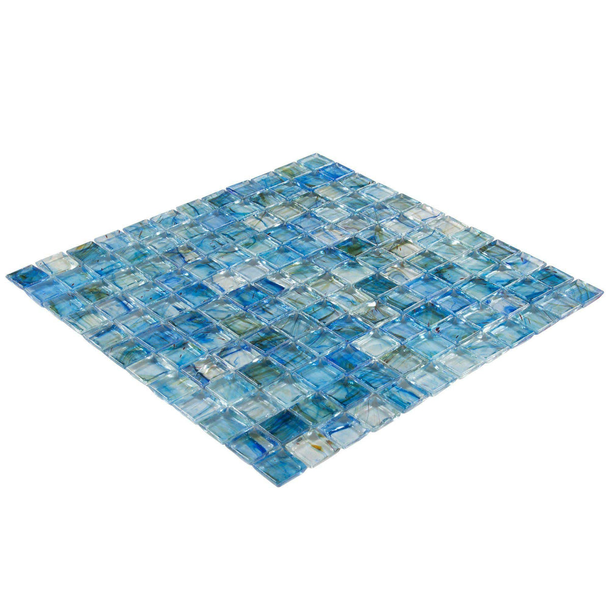 Mto0083 1x1 Stacked Squares Blue Green Gray Glossy Glass