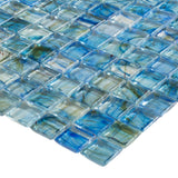 Close Up Classic Uniform Square Light Green Glossy Glass Mosaic Tile