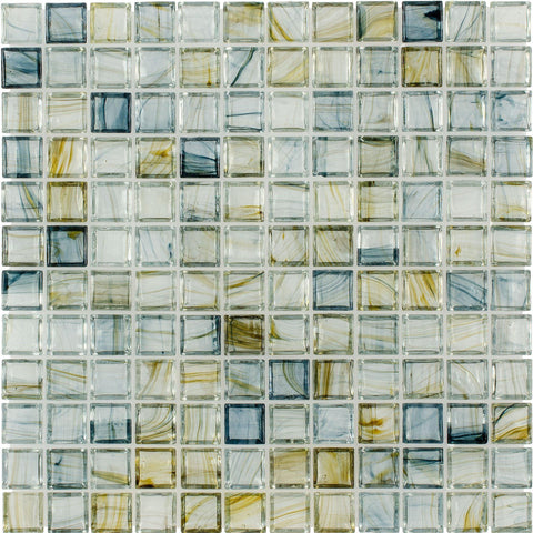 MTO0084 Classic 1X1 Stacked Squares Blue Green Glossy Glass Mosaic Tile - Mosaic Tile Outlet