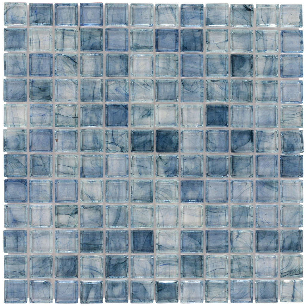 MTO0085 Classic Squares Gray Light Blue Glossy Glass Mosaic Tile