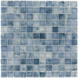MTO0085 Classic 1X1 Squares Gray Light Blue Glossy Glass Mosaic Tile - Mosaic Tile Outlet