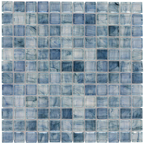 Front Classic Uniform Square Light Blue Glossy Glass Mosaic Tile