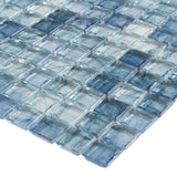 Close Up Classic Uniform Square Light Blue Glossy Glass Mosaic Tile