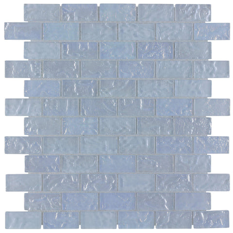 Front Classic Mini Brick Light Blue Frosted Glossy Glass Mosaic Tile