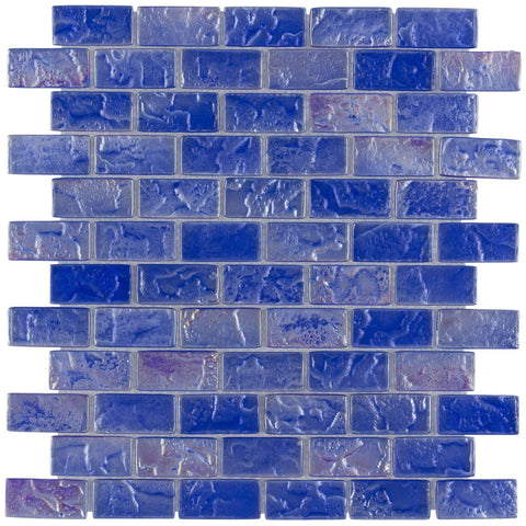 Front Classic Mini Brick Blue Frosted Glossy Glass Mosaic Tile