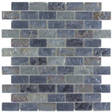 Front Classic Mini Brick Platinum Frosted Glossy Glass Mosaic Tile