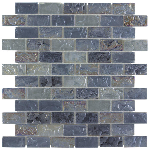 MTO0088 Classic Brick Gray Platinum Frosted Glossy Glass Mosaic Tile - Mosaic Tile Outlet