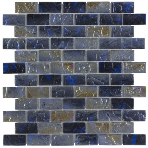 Front Classic Mini Brick Blue & Grey Frosted Glossy Glass Mosaic