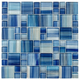Front Modern French Pattern Blue Glossy Glass Mosaic Tile