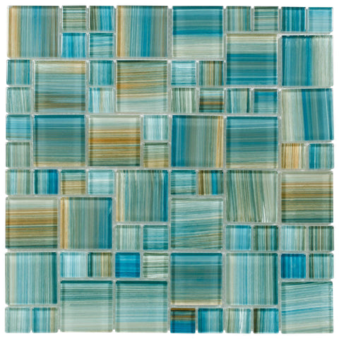 MTO0091 Modern Modular Blue Brown Aquamarine Blend Glossy Glass Mosaic Tile - Mosaic Tile Outlet