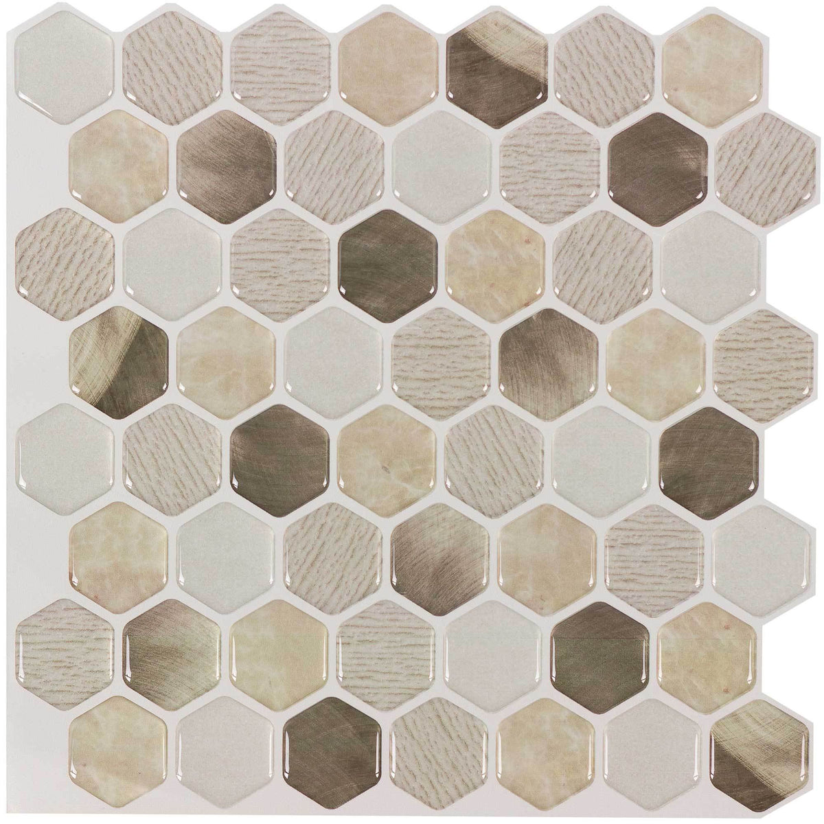 Mto0097 5pk Peel Amp Stick Hexagon Beige Gold Vinyl Mosaic