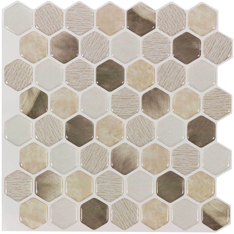 MTO0097 5PK Peel and Stick Modern Hexagon Beige Gold Vinyl Mosaic Tile - Mosaic Tile Outlet