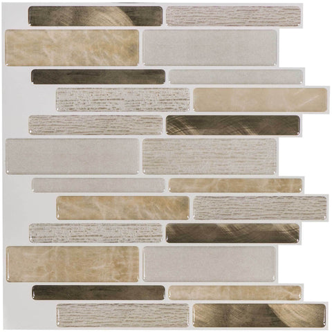 MTO0098 - 5PK Peel and Stick Modern Linear Beige Gold Resin Vinyl Mosaic Tile - Mosaic Tile Outlet