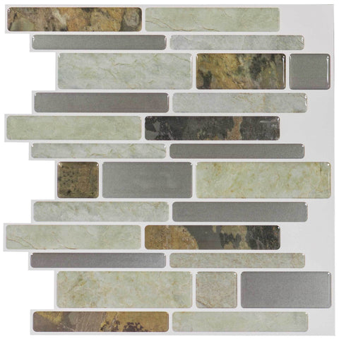 MTO0099 - 5PK Peel and Stick Modern Linear Gray Vinyl Mosaic Tile - Mosaic Tile Outlet