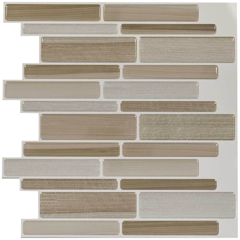 MTO0100 - 5PK Peel and Stick Modern Linear Beige Vinyl Mosaic Tile - Mosaic Tile Outlet