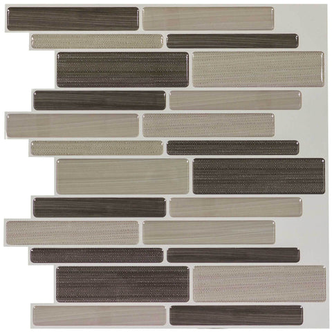 Front Peel N' Stick Contemporary Linear Brown Beige Resin Vynil Tile