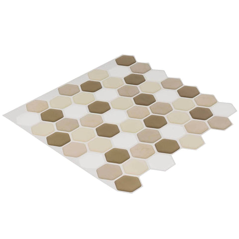 Front Peel N' Stick Contemporary Linear Beige White Resin Vynil Tile