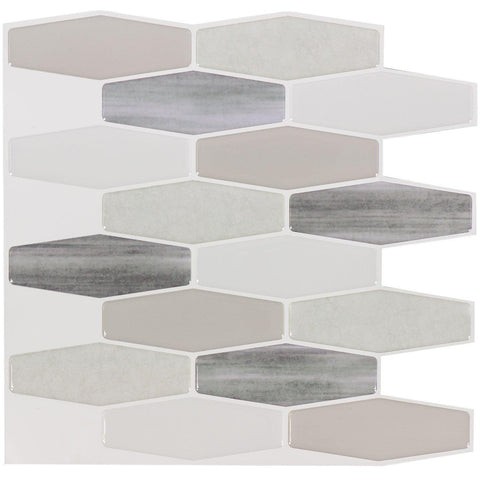 Front Peel N' Stick Contemporary Long Hex Gray White Resin Vynil Tile
