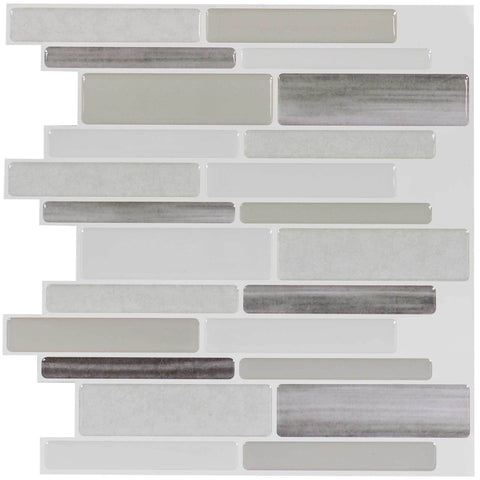 MTO0106 - 5PK Peel and Stick Modern Linear Gray White Vinyl Mosaic Tile - Mosaic Tile Outlet