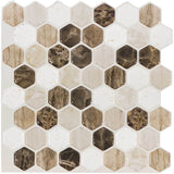 MTO0107 - 5PK Peel and Stick Modern Hexagon Beige Brown Vinyl Mosaic Tile - Mosaic Tile Outlet